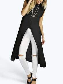 Black Stand Collar Slit Blouse