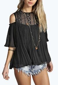 Black Lace Insert Cold Shoulder Pleated Top
