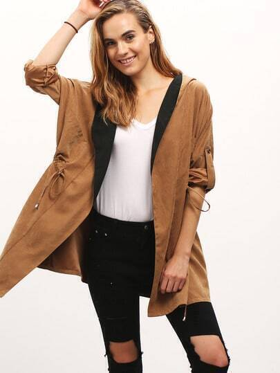 Camel Hooded Drawstring Pockets Coat