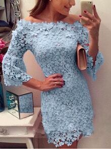 Boat Neck Fitted Lace Blue Dress