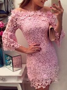 Boat Neck Fitted Lace Pink Dress