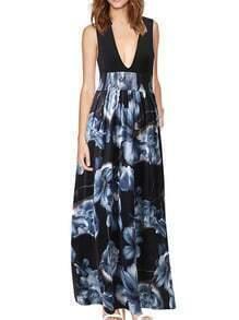 Deep V Neck Flowers Print Maxi Grey Dress
