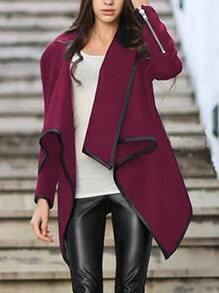 Turtleneck Zipper Asymmetrical Wine Red Coat
