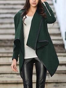 Turtleneck Zipper Asymmetrical Dark Green Coat