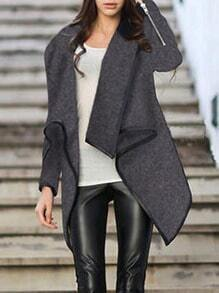 Turtleneck Zipper Asymmetrical Grey Coat