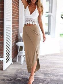 Halter Lace Top With Wraped Khaki Skirt