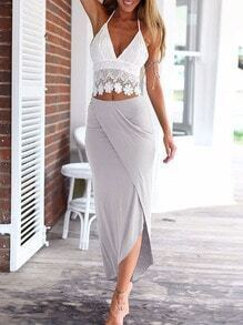 Halter Lace Top With Wraped Grey Skirt