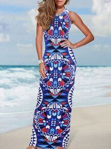 Geometric Print Beach Blue Dress