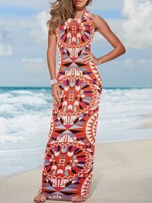 Geometric Print Beach Orange Dress