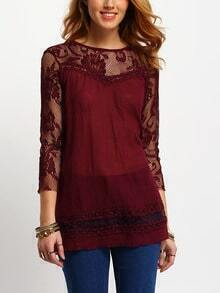 Lace Insert Hollow Maroon Blouse