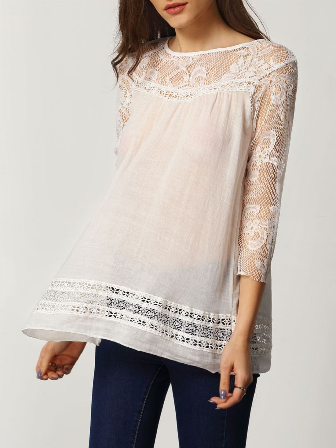 Lace Insert Hollow White Blouse