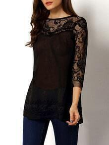 Lace Insert Hollow Black Blouse