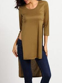 Slit High Low Khaki T-shirt