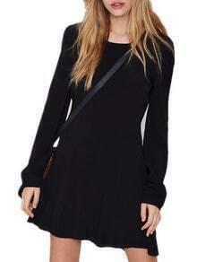 Long Sleeve Backless Trapeze Dress