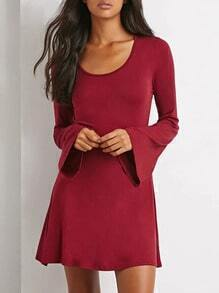 Bell Burgundy Sleeve A-Line Red Dress