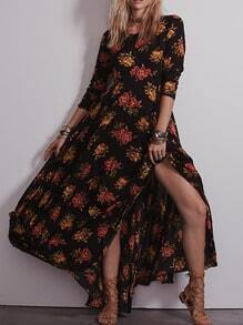 Long Sleeve Flower Print Maxi Black Dress Longsleeve Kaftan