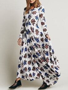 Long Sleeve Flower Print Maxi White Dress