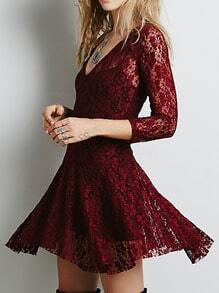 V Neck Lace Skater Wine Red Dress