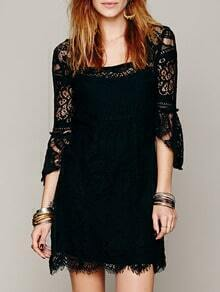 Square Neck Ruffle Eyelash Lace Black Dress