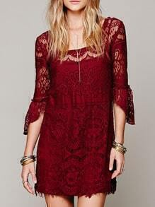 Square Neck Ruffle Eyelash Lace Wine Red Dress
