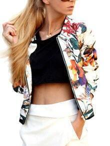 Florals Zipper Slim Jacket