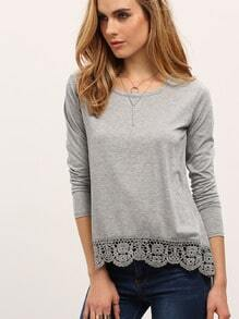 Long Sleeve Crochet Loose T-shirt