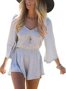 V Neck Bell Sleeve Open Back Romper