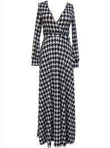 Deep Plunge Neck Houndstooth Maxi Dress