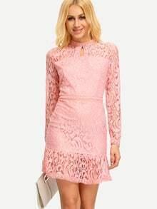 Peplum Hem Keyhole Lace Dress