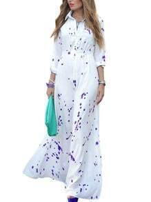 Lapel Spotted Chiffon Maxi Shirt Dress