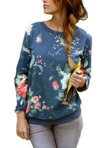 Sweat-shirt floral col rond
