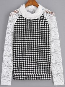 Black White Houndstooth Lace Sleeve Blouse