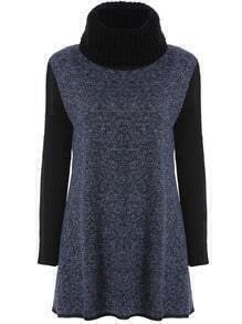 Blue Black Bib Collar Knit Long Sleeve Fairisle Dress