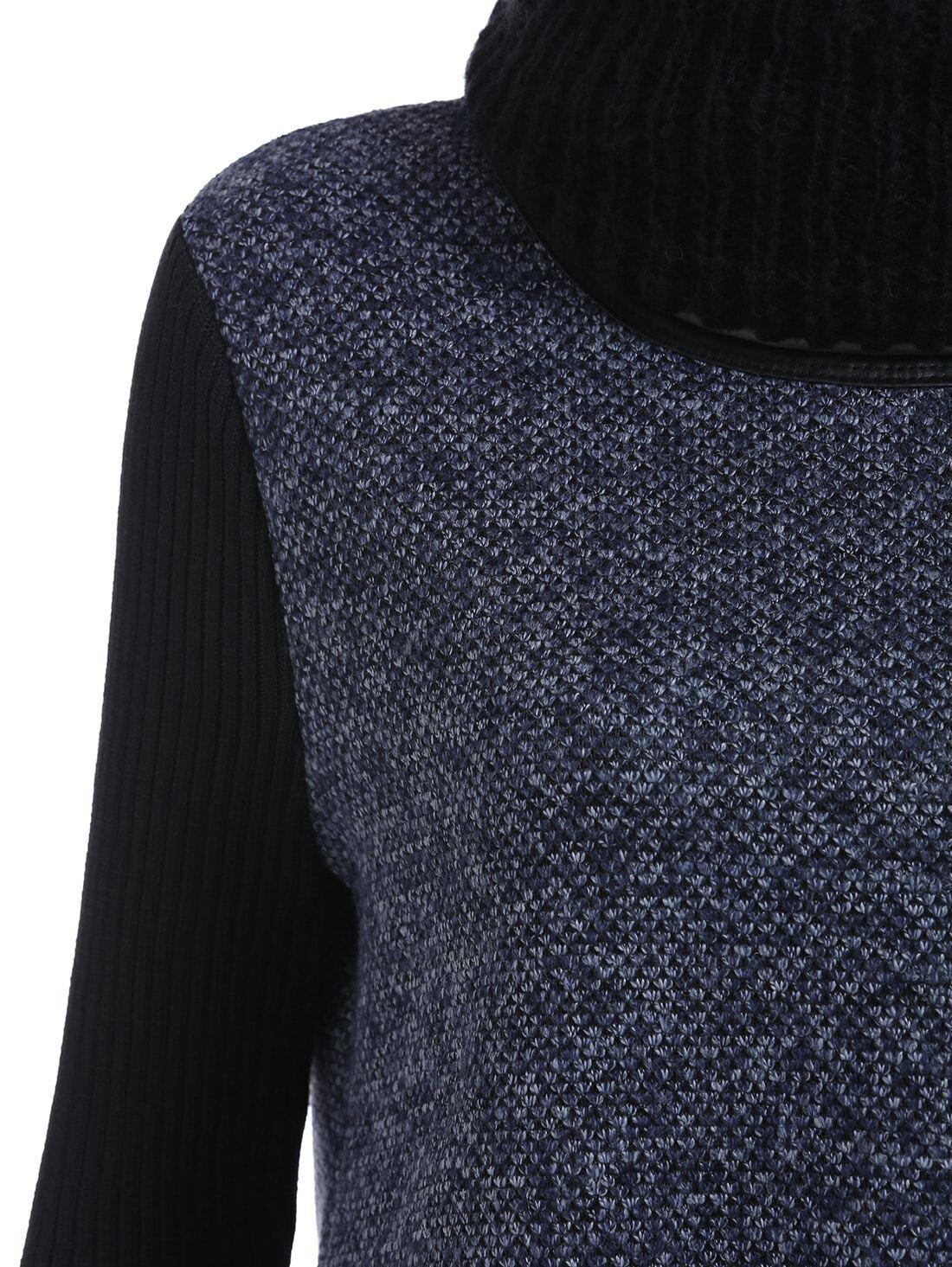 strickkleid langarm blau und schwarz german shein sheinside. Black Bedroom Furniture Sets. Home Design Ideas
