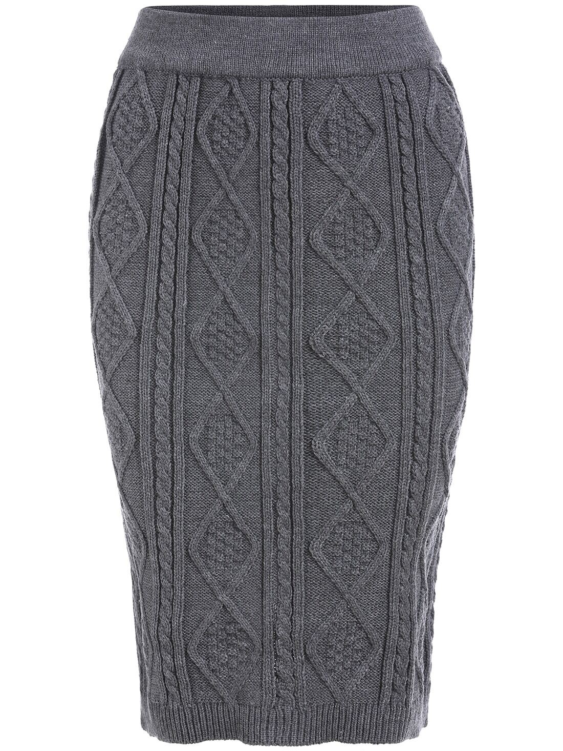 Grey Diamond Patterned Cable Knit Skirt -SheIn(Sheinside)