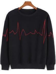 Black Round Neck ECG Print Sweatshirt