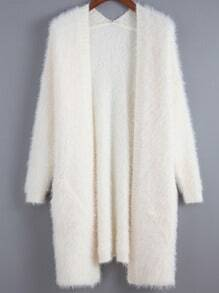 Beige Long Sleeve Shaggy Loose Cardigan