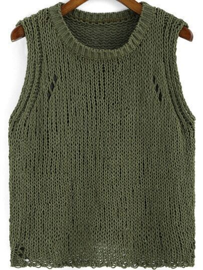 Army Green Round Neck Knit Sweater Vest