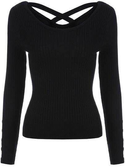 Black Long Sleeve Slim Knitwear