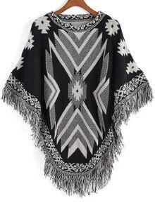 Black White Tribal Print Tassel Cape