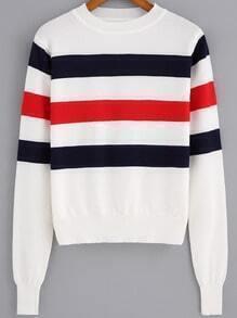 Red Black White Round Neck Striped Crop Knitwear