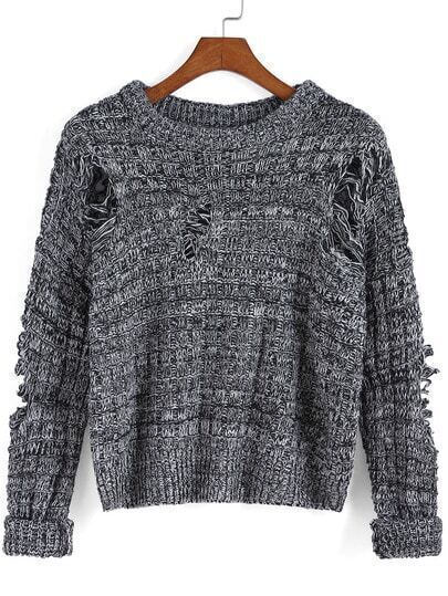 Black Round Neck Ripped Knit Sweater