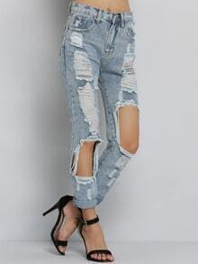 Blue Casual Ripped Denim Pant