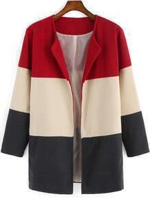 Colour-block Long Sleeve Woolen Coat