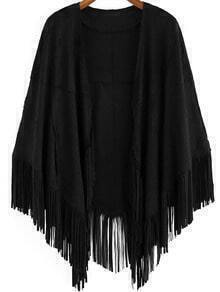 Black Casual Loose Tassel Cape