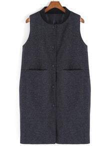 Black Stand Collar Buttons Pockets Vest