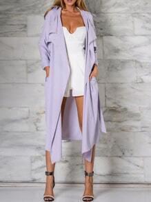 Purple Long Sleeve Lapel Trench Coat