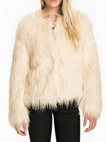 Apricot Long Sleeve Faux Fur Coat