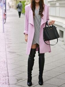 Pink Long Sleeve Pockets Coat