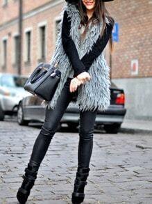 Grey Sleeveless Faux Fur Coat